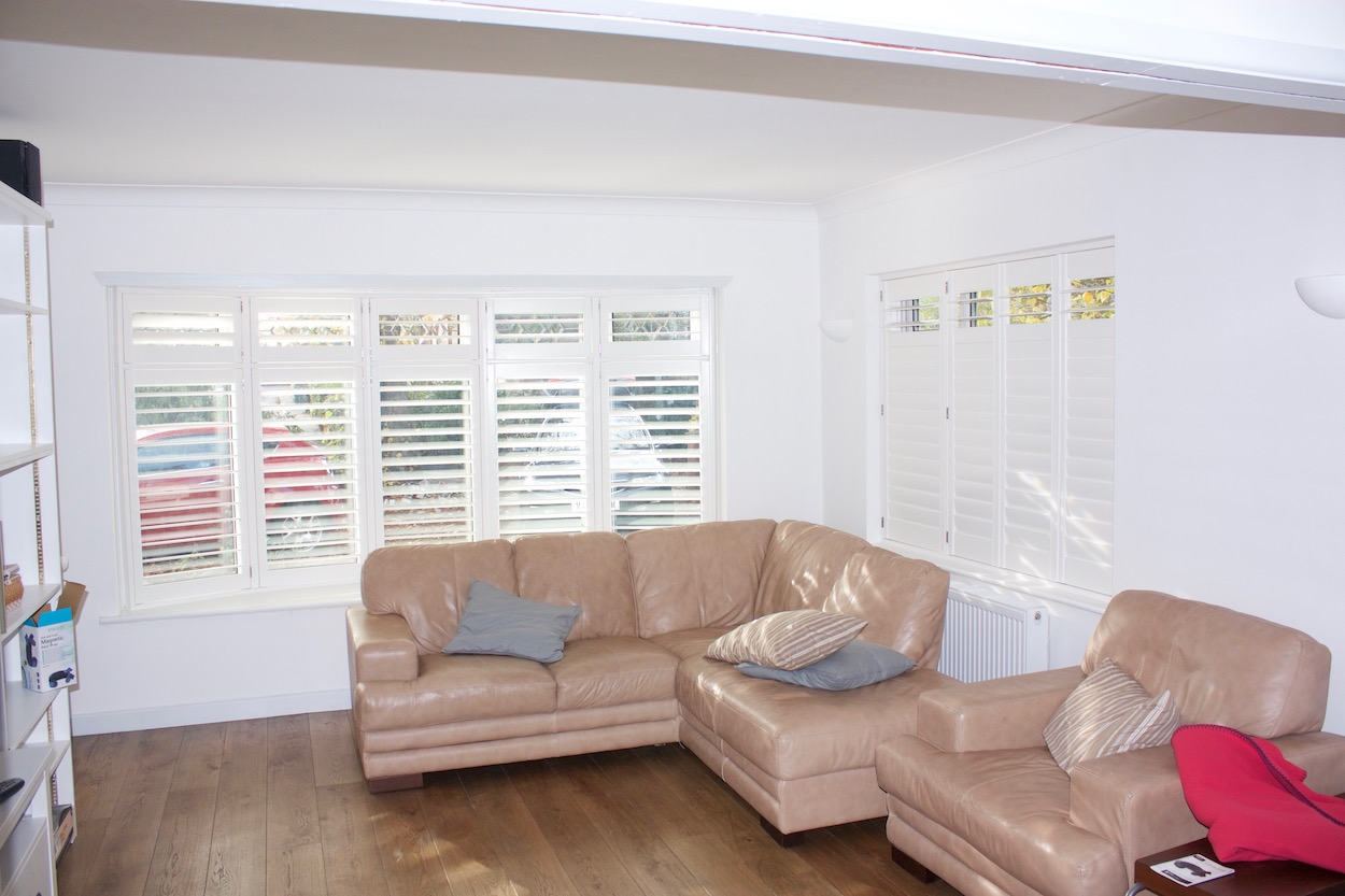 Bow Window with shutters in a lounge