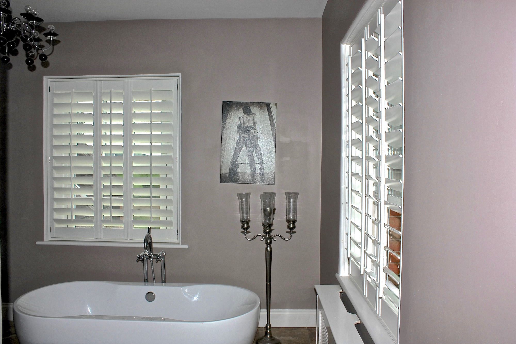 Modern Bathroom And Bifolding Plantation Shutters