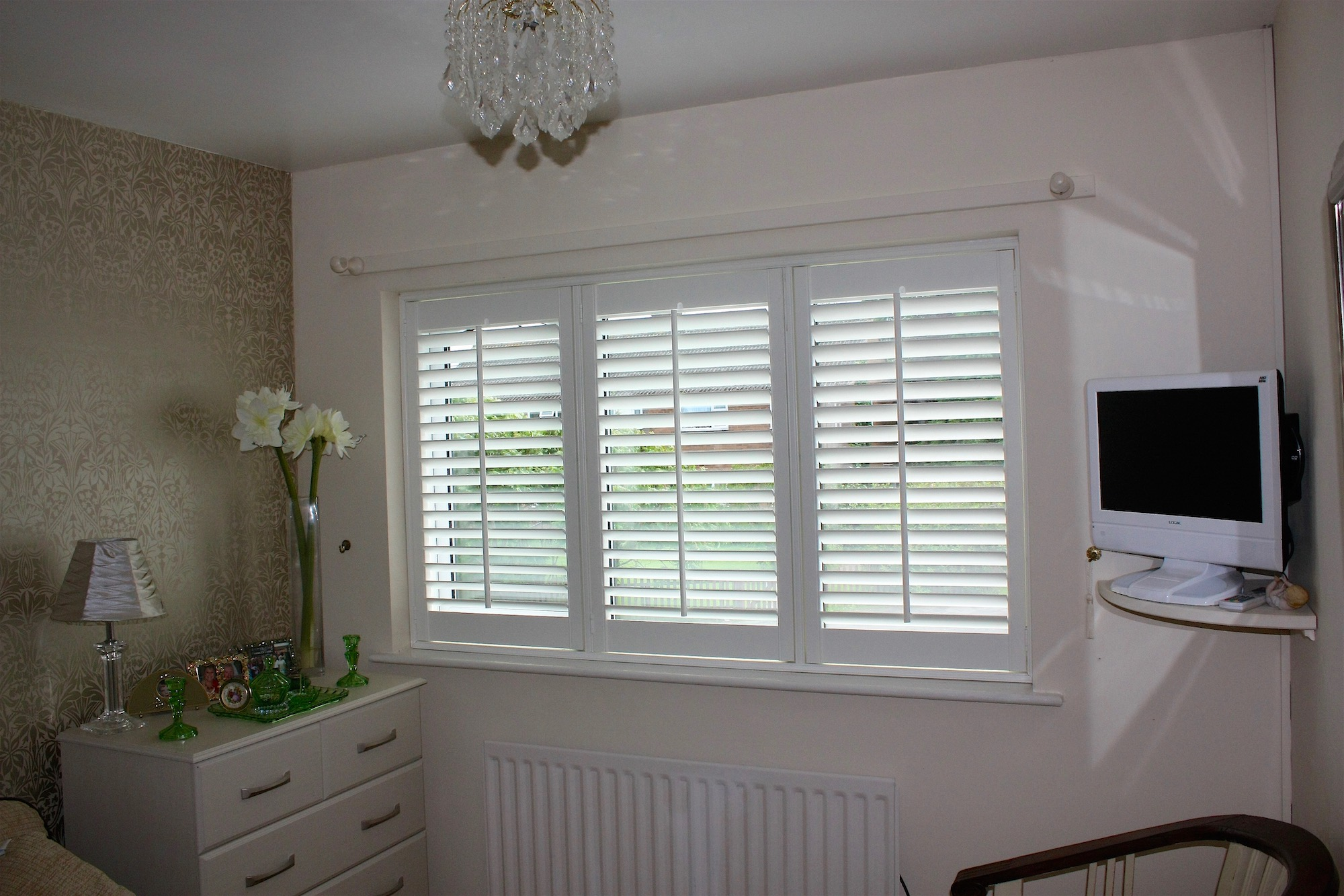 Three panel Shutters in Silk White 64mm louvres