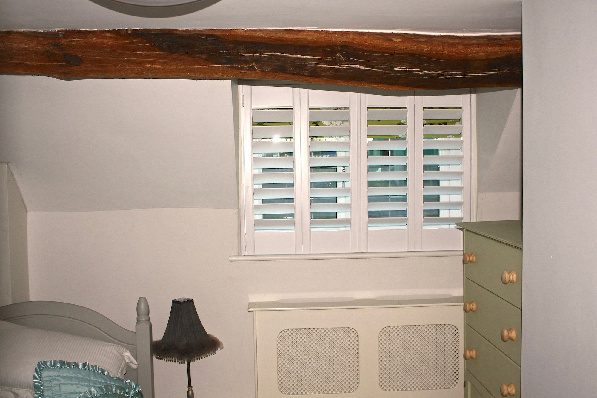 Cottage Bedroom with Plantation Shutters