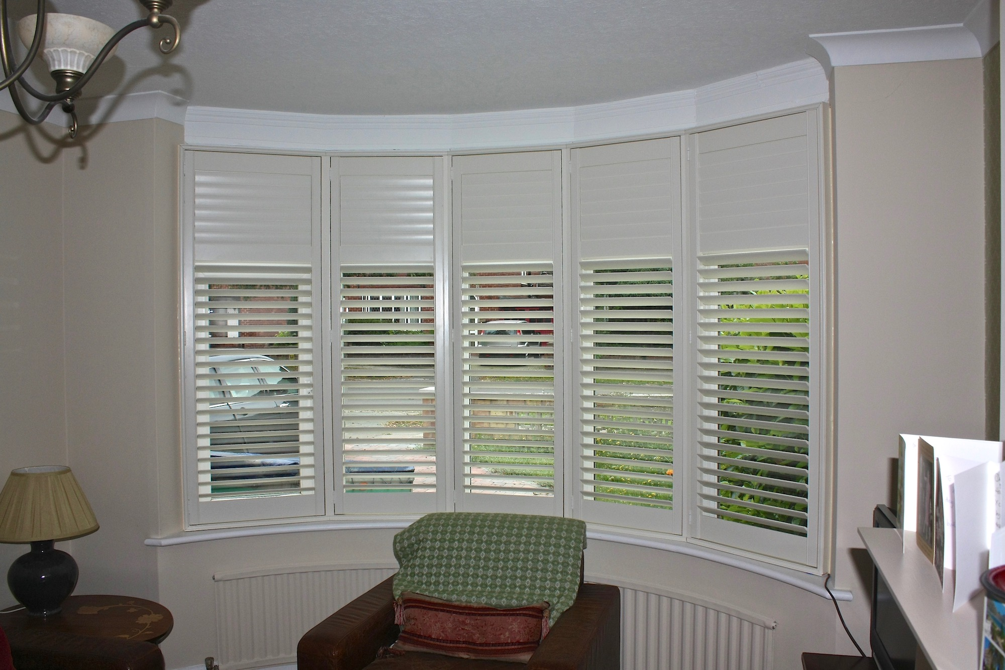 Tall Bow Window with  Plantation Shutters