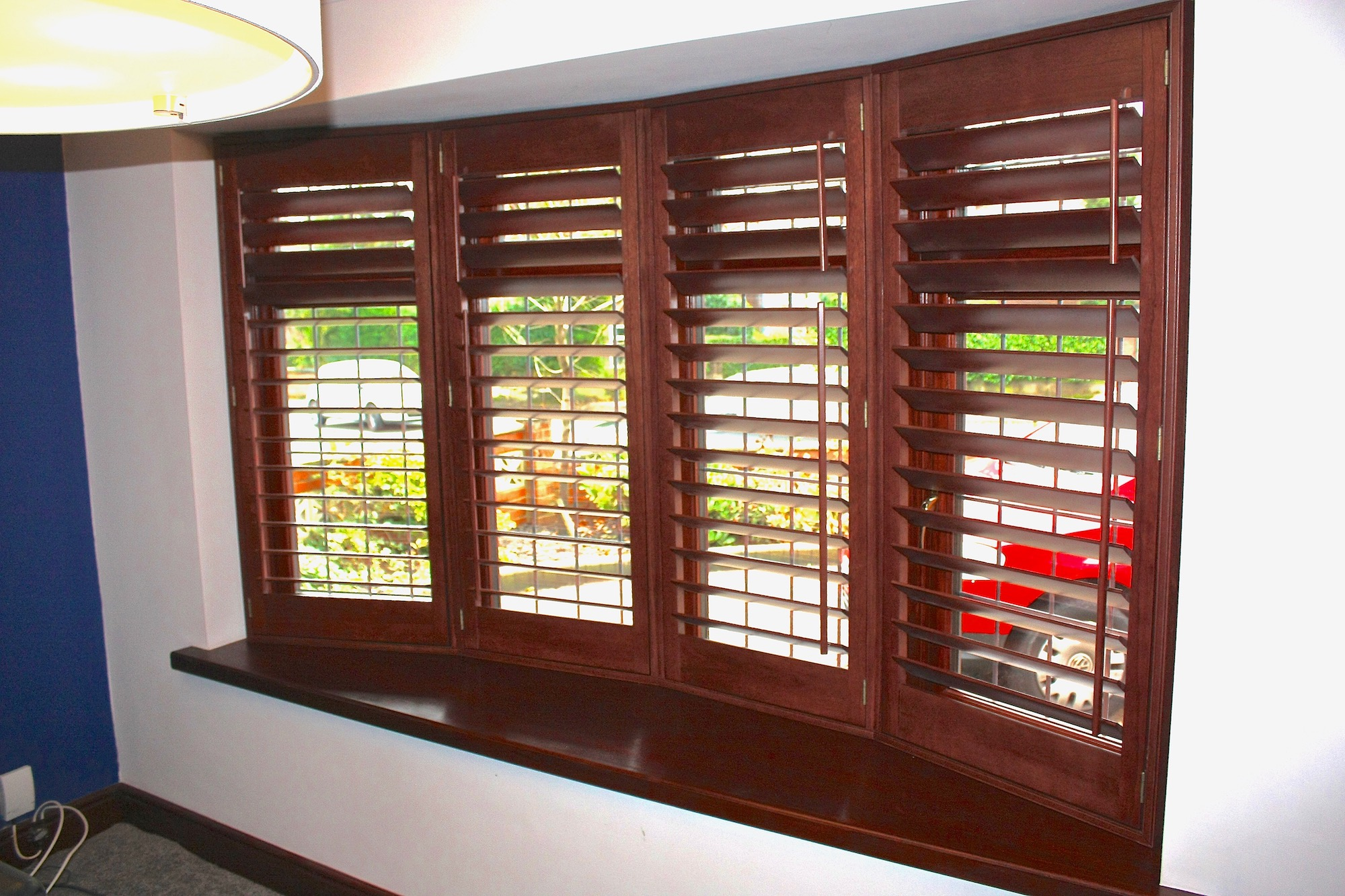 Stained Wood 4 Facet Bow Window