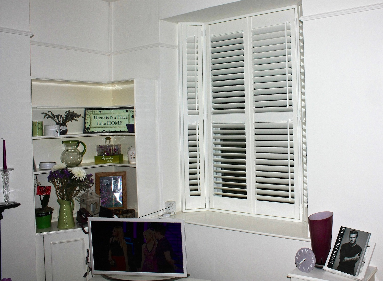 TV Room Bay Window With  Plantation Shutters